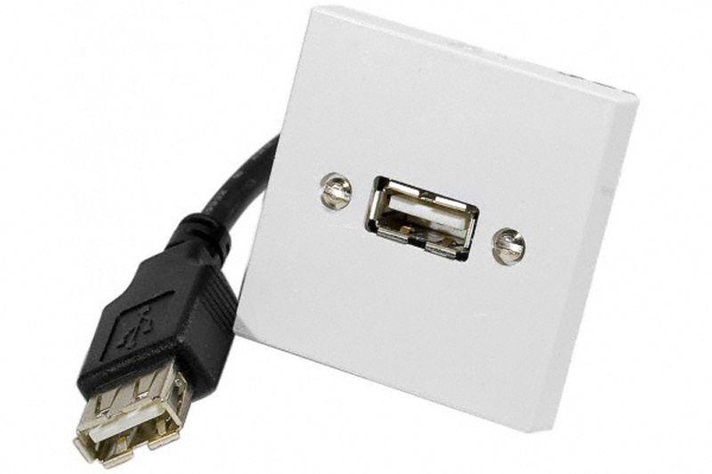 Prise murale USB 2.0 avec câble de 0.10m - 45x45