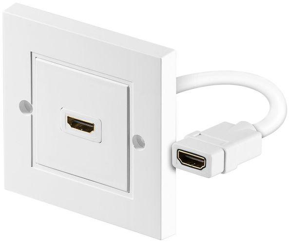 Prise HDMI murale avec câble 15 cm