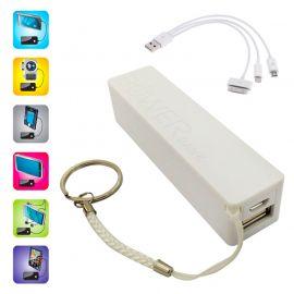 Batterie et chargeur externe powerbank avec une sortie USB 1A - 2000mAh blanc
