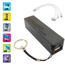 Batterie et chargeur externe powerbank avec une sortie USB 1A - 2000mAh noir